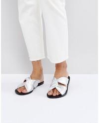 silberne Leder Pantoletten von Asos