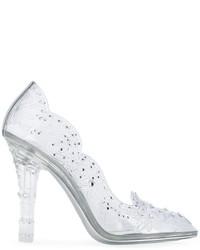 silberne Leder Pumps von Dolce & Gabbana