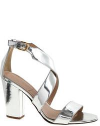 silberne Leder Sandaletten