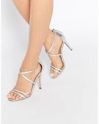 Silberne Leder Sandaletten von Aldo