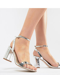 silberne Leder Sandaletten von ASOS DESIGN