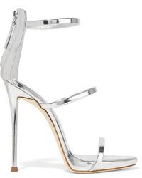 Silberne Leder Sandaletten von Giuseppe Zanotti