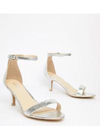 silberne Leder Sandaletten von Glamorous Wide Fit