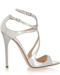 Silberne Leder Sandaletten von Jimmy Choo