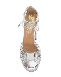 silberne Leder Sandaletten von Aquazzura