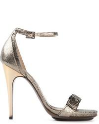 silberne Leder Sandaletten von Lanvin