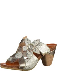 silberne Leder Sandaletten von Laura Vita