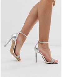 silberne Leder Sandaletten von Lipsy