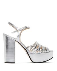 silberne Leder Sandaletten von Marc Jacobs