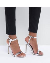 silberne Leder Sandaletten von Missguided