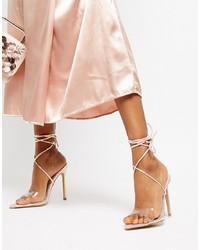 silberne Leder Sandaletten von Public Desire