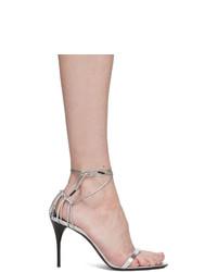 silberne Leder Sandaletten von Saint Laurent
