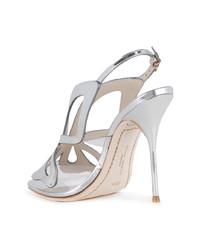silberne Leder Sandaletten von Sophia Webster