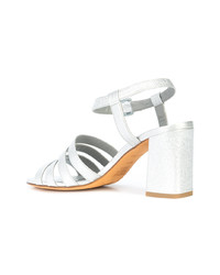 silberne Leder Sandaletten von Maryam Nassir Zadeh