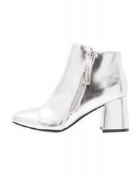 Silberne Leder Stiefeletten von New Look