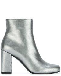 Silberne Leder Stiefeletten von Saint Laurent