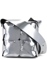 silberne Leder Umhängetasche von Paco Rabanne