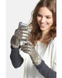 silberne Lederhandschuhe