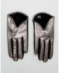 silberne Lederhandschuhe von Asos