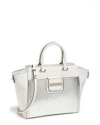 silberne Lederhandtasche
