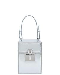 silberne Lederhandtasche von Oscar de la Renta