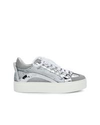 silberne niedrige Sneakers von Dsquared2