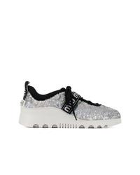 silberne niedrige Sneakers von Miu Miu