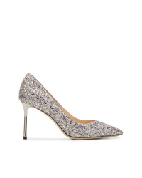 silberne Pailletten Pumps von Jimmy Choo