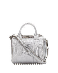 silberne Satchel-Tasche aus Leder