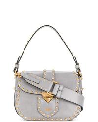 silberne Satchel-Tasche aus Leder von Moschino