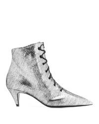 silberne Schnürstiefeletten aus Leder von Saint Laurent