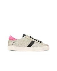 silberne Segeltuch niedrige Sneakers von D.A.T.E