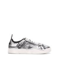 silberne Segeltuch niedrige Sneakers von Diesel