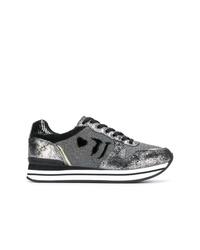 silberne Segeltuch niedrige Sneakers von Trussardi Jeans
