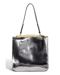 silberne Shopper Tasche aus Leder