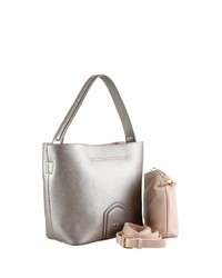 silberne Shopper Tasche aus Leder von COLLEZIONE ALESSANDRO