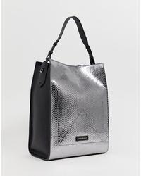 silberne Shopper Tasche aus Leder von Emporio Armani
