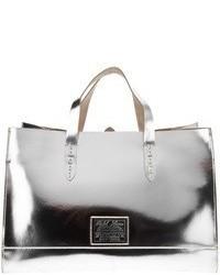 silberne Shopper Tasche aus Leder von Ralph Lauren