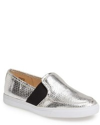 silberne Slip-On Sneakers aus Leder
