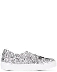 silberne Slip-On Sneakers aus Leder von Chiara Ferragni