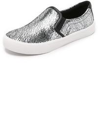 silberne Slip-On Sneakers aus Leder von DKNY