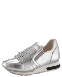silberne Slip-On Sneakers aus Leder von Franco Russo