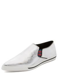 silberne Slip-On Sneakers aus Leder von Marc Jacobs
