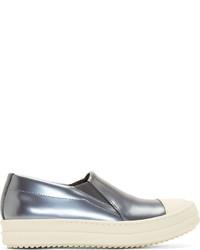 silberne Slip-On Sneakers aus Leder von Rick Owens