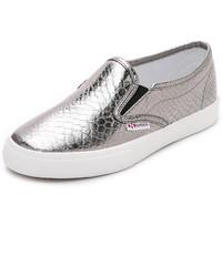 silberne Slip-On Sneakers aus Leder von Superga