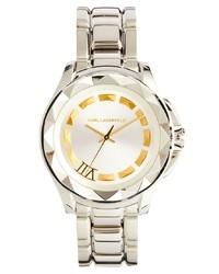 silberne Uhr von Karl Lagerfeld