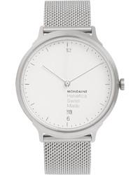 silberne Uhr von Mondaine