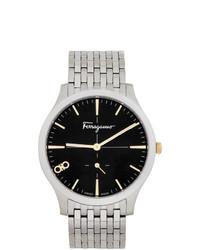 silberne Uhr von Salvatore Ferragamo