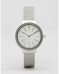 silberne Uhr von Skagen