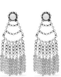 silberne verziert mit Perlen Ohrringe